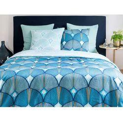 Pościel satynowa SHELLY - poszwa na kołdrę 240 x 260 cm + 2 poszewki na poduszkę 63 x 63 cm - niebieska