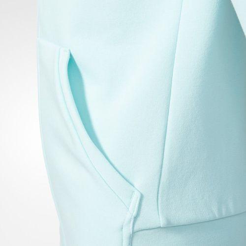 Bluzy dla dzieci, Adidas dziecięca bluza z kapturem YG Linear Full Zip Hoodie Energy Aqua/Collegiate Navy/White 140