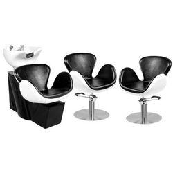 Zestaw Mebli Fryzjerskich - Myjnia Amsterdam + 2 Fotele Amsterdam Czarno-Białe