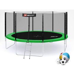 Trampolina 14ft (427cm) z siatką zewnętrzną Hop-Sport - 4 nogi - 14 ft (427 cm) \ zielony