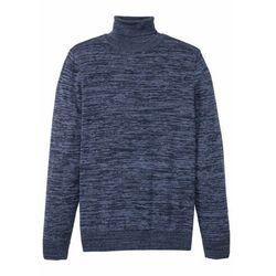 Sweter z golfem bonprix ciemnoniebieski melanż