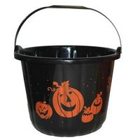 Pozostałe dekoracje, Wiaderko czarne z dyniami na Halloween - 19 cm - 1 szt.