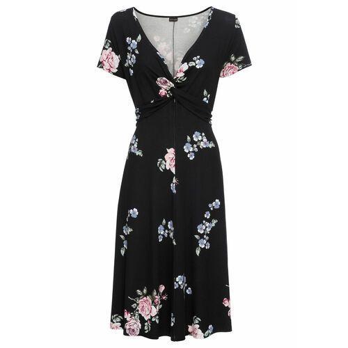 Suknie i sukienki, Sukienka z dżerseju bonprix czarny w kwiaty
