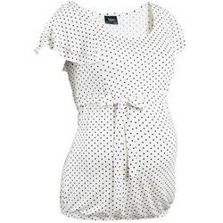 Shirt ciążowy bonprix biel wełny - czarny w kropki