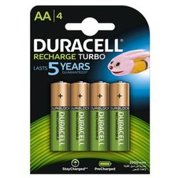 4 x akumulatorki Duracell Recharge Turbo R6/AA 2500 mAh (blister)