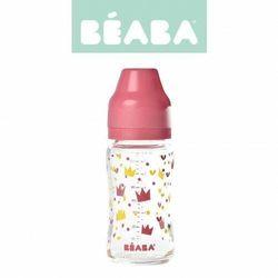 Butelka szklana szerokootworowa 240 ml yellow / pink crown, beaba