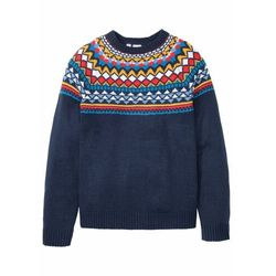 Sweter w norweski wzór bonprix ciemnoniebieski w norweski wzór