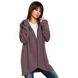 Brązowa Bluza Asymetryczna z Kapturem