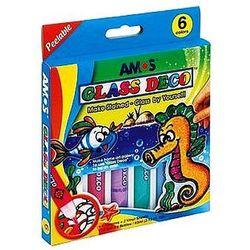 Farby witrażowe 6 kolorów x 10,5ml Glass Deco Amos GD10P6