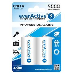 "2x everActive R14/C Ni-MH 5000 mAh ready to use ""Professional line"""
