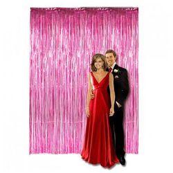 Kurtyna - zasłona na drzwi metaliczna różowa - 250 x 90 cm