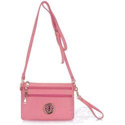 Różowa torebka listonoszka na długim pasku - różowy