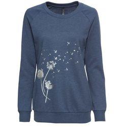 Bluza dresowa bonprix indygo melanż - z nadrukiem