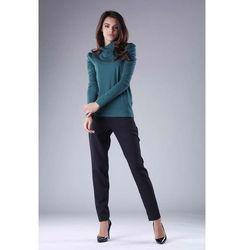Zielony stylowy damski golf z bufiastym długim rękawem