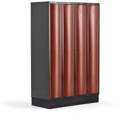 Metalowa szafa ubraniowa CURVE, na cokole, 4x1 drzwi, 1890x1200x550 mm, czerwony
