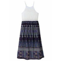 Sukienka dziewczęca z koronkowymi zdobieniami bonprix kremowo-niebieski