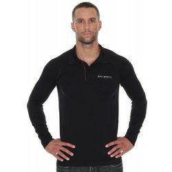 Koszulka męska polo Brubeck Prestige z długim rękawem LS10620 Czarny