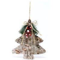 Ozdoby świąteczne, Drewniana dekoracja wisząca Choinka - 23 cm - 1 szt.