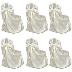 vidaXL Pokrowce na krzesła weselne 6 szt. kremowe Darmowa wysyłka i zwroty