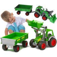 Traktory dla dzieci, WADER Traktor z ładowarką + przyczepa gumowe koła