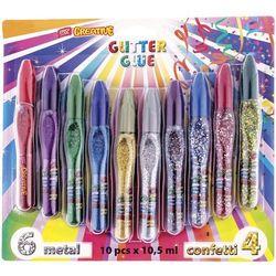 Klej brokatowy 10 kolorów metaliczne/confetti