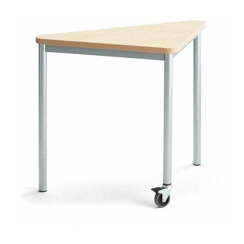 Pozostałe meble biurowe, Stół SONITUS TRIANGEL, z kółkiem, 905x605x720 mm, beżowe linoleum, szary aluminium