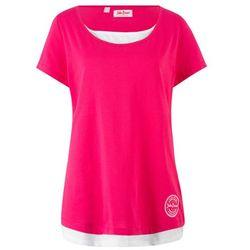 Shirt bawełniany w optyce 2w1, krótki rękaw bonprix różowo-biały