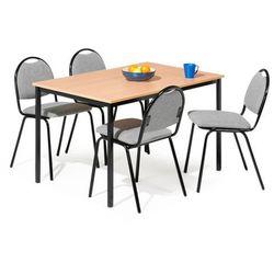 Zestaw mebli do stołówki, stół 1200x800 mm, buk + 4 krzesła, szary/czarny