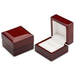 Pudełko drewniane na pierścionek - brązowe z połyskiem.