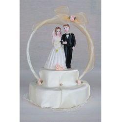 Stroik na tort weselny atłas ekri łosoś mp