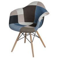 Krzesła, Krzesło P018W patchwork niebiesko-szary podstawa drewniana MODERN HOUSE bogata chata