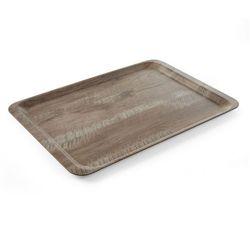 Taca melaminowa z nadrukiem drewna - ciemny dąb, wym. 37x53 cm