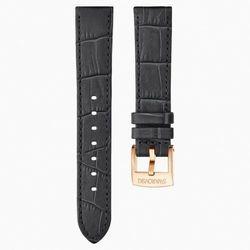 Pasek do zegarka 18 mm, skóra z obszyciem, ciemnoszary, w odcieniu różowego złota