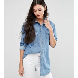 ASOS TALL Denim Boyfriend Shirt in Anouki Mid Stonewash Blue - Blue