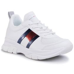 Sneakersy TOMMY HILFIGER - Low Cut Lace-Up Sneaker T3A4-30633-0968 S White 100