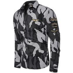 Koszula męska długi rękaw rl64 - czarna