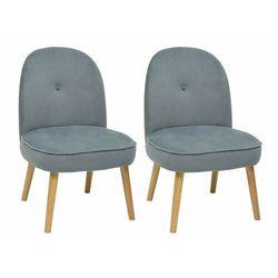 Zestaw 2 foteli INGRID z weluru - Kolor szary