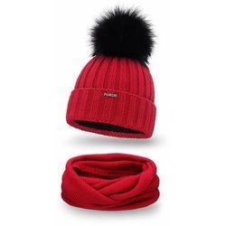 Zimowy komplet damski- czapka i komin PaMaMi - Czerwony