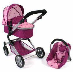 Bayer Chic wózek dla lalek LIA z fotelikiem samochodowym różowe gwiazdki