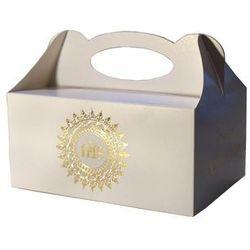 Ozdobne pudełko na ciasto komunijne ze złotym ornamentem IHS - 1 szt.