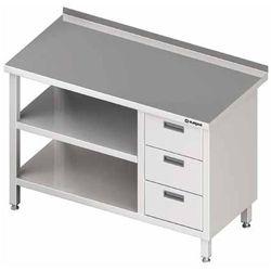 Stół przyścienny z blokiem trzech szuflad po prawej stronie i dwiema półkami 1000x700x850 mm | STALGAST, 980417100