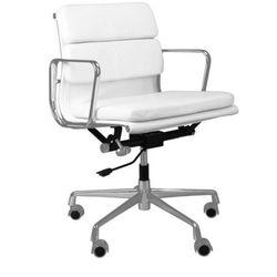 Fotel biurowy CH inspirowany EA217 skóra, chrom - biały