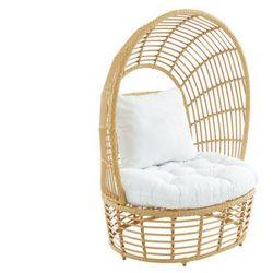 Fotel ogrodowy CALODYNE z zadaszeniem, z technorattanu w kolorze beżowym, z białą poduszką