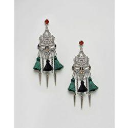 ASOS DESIGN Statement Cut Out Pom Chandelier Earrings - Multi