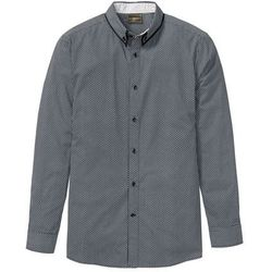 Koszula w delikatny deseń, długi rękaw bonprix czarno-biały w graficzny deseń
