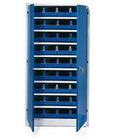 Szafki warsztatowe, Szafa warsztatowa z pojemnikami, 36 niebieskich pojemników, 1900x1000x400 mm