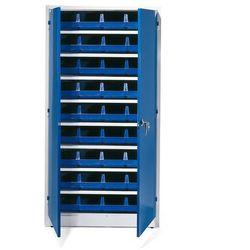 Szafa warsztatowa z pojemnikami, 36 niebieskich pojemników, 1900x1000x400 mm