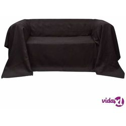 vidaXL Pokrowiec/Narzuta na kanapę micro zamsz brąz 210 x 280 cm Darmowa wysyłka i zwroty