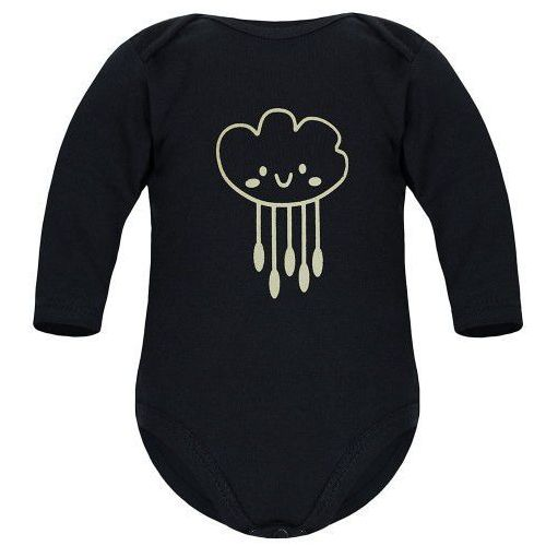 Body niemowlęce, Dziecięce body długi rękaw czarne - Chmurka