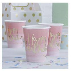 Kubeczki urodzinowe różowe ombre Happy Birthday - 270 ml - 8 szt.